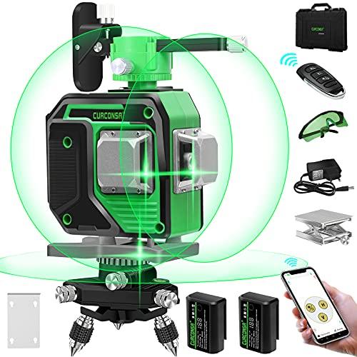 Nivel láser,CURCONSA 12 líneas 3x360 ° Herramienta de autonivelación de nivel láser verde, ajuste de APP / control remoto, Protección IP54, 2 baterías de litio con pantalla digital HD incluidas