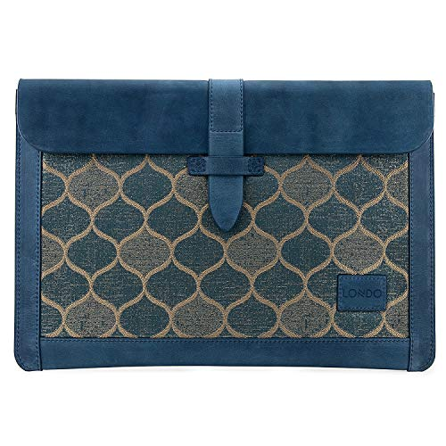 Londo Pochette / Housse compatibile con MacBook Pro en Cuir Véritable (13.3 - 13 Pollici, Blu)