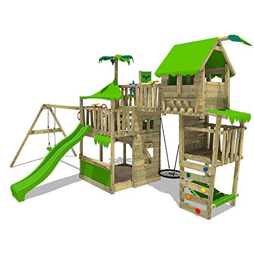 Fatmoose TropicTemple Tall XXL Speeltoren, klimtoren, boomhuis, speelplaats op 5 niveaus, nestschommel, glijbaan, schommel, zandbak, klimladder en hangmat
