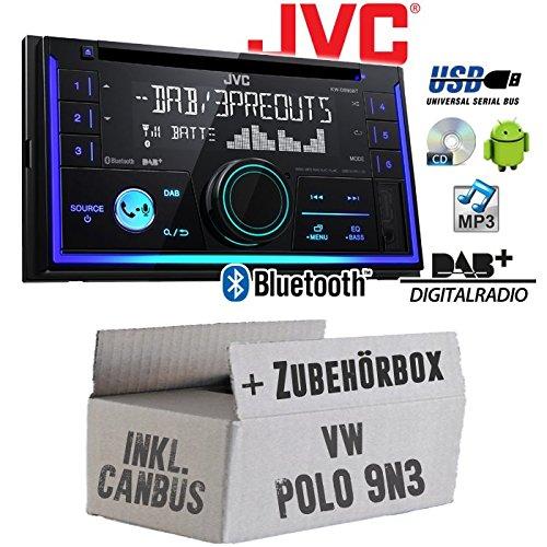 Autoradio Radio JVC KW-DB93BT - 2-DIn DAB+ Bluetooth MP3 USB - Einbauzubehör - Einbauset für VW Polo 9N3 2- JUST SOUND best choice for caraudio