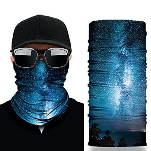 NoahNoel | Halstuch Multifunktionstuch für Damen und Herren Schlauchtuch Nahtlos Bandana Schal Gesichtsmaske für laufen Radfahren Motorradfahren (Blau)