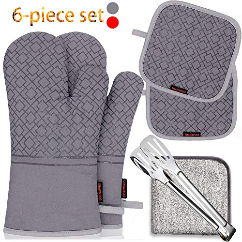 Shawntoo Oven Mitts and Pot Holders 6pcs Set 500℉ Heat Resistant Soft Lining with NonSlip Surface Oven Gloves With Cooking Tongs And Kitchen Towels,Perfect for Kitchen Baking BBQ Grilling Grey