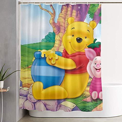 eneric Lustiger Stoff-Duschvorhang Winnie Pooh Honey Wasserdichtes Badezimmer-Dekor mit Haken 60 x 72 Zoll