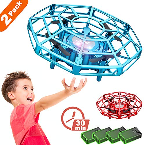 4DRC V3 Hand Operated Mini Drone for Kids Beginners,(2-Pack), Mini Drone for Kids with Sensors 360 Degree Rotating Induction Drone, Toss Flight, Great Toy for Boys Girls Easy Indoor UFO Flying Ball