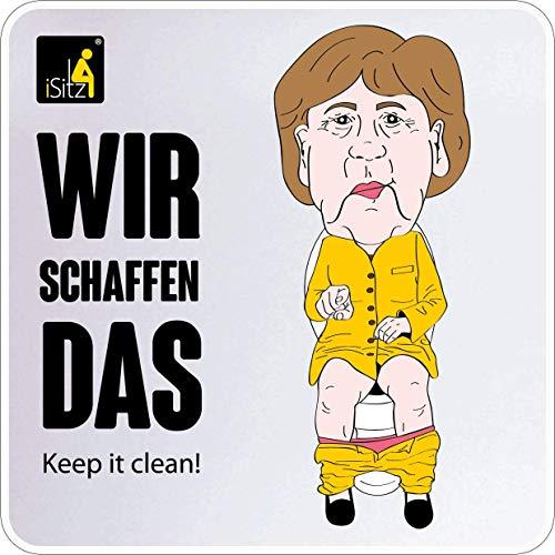 """WC Aufkleber Angela Merkel witzig für Spülkasten, WC-Deckel, Toiletten Tür - witzige Karikatur - Badezimmer Schild """"Pinkeln im Sitzen"""" SELBSTKLEBEND - iSitz"""
