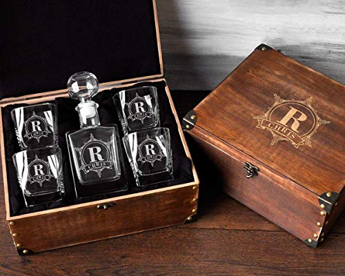 Personalized Decanter Set with Wood Box Whiskey Decanter Set Groomsmen Gifts for Wedding Engraved ...