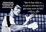 Bruce Lee Schwarzweiß Motivationsposter #65 Fürchte dich