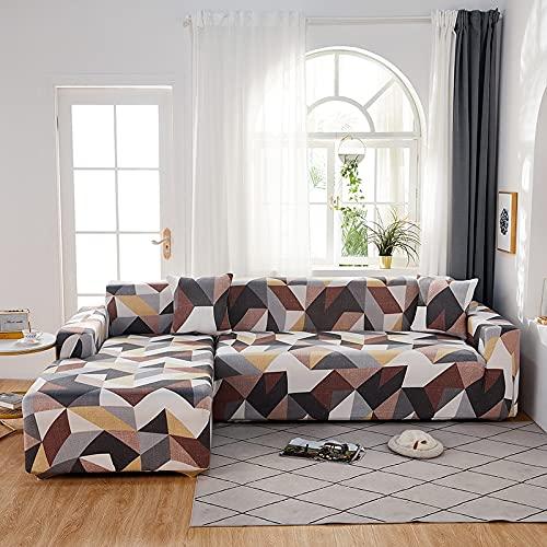 WXQY Funda de sofá de Sala de Estar geométrica en Forma de L Funda Protectora de sofá a Prueba de Polvo Funda de sofá retráctil elástica v A19 3 plazas