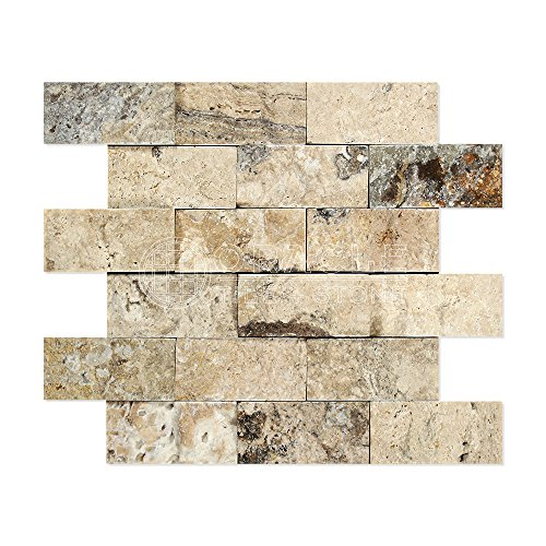 Philadelphia Travertine 2 X 4 Mosaic Tile, Split-Faced