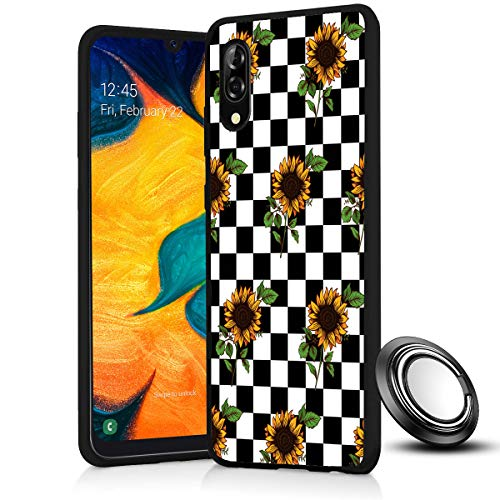 Galaxy A10E / A20E Case, Checkerboard Sunflower Slim Anti Scratch Shockproof Silicone Soft Rubber TPU Protective Case Cover with Phone Ring Holder Stand for Samsung Galaxy A10E /A20E 5.8'
