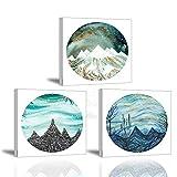 Piy Painting Stampe su Canvas, Guardare Il Paesaggio Mondiale con Un Cerchio Immagine - Quadro su Tela con Cornice - Moderni Murale Fotografia para Sala Regalo di Anniversario Natale 3X30x30cm