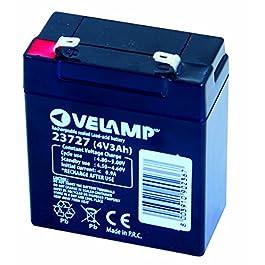 VeLamp 23727 Batterie rechargeable au Plomb 4V 3Ah, Noir