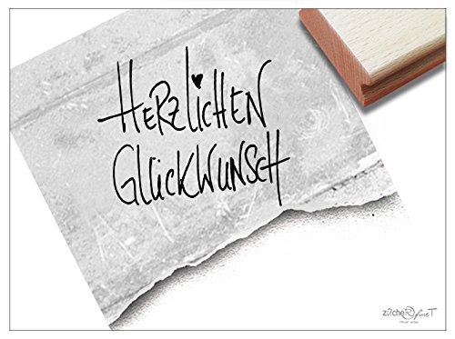 Stempel Textstempel HERZLICHEN GLÜCKWUNSCH in Handschrift - Schriftstempel zum Geburtstag Hochzeit Einschulung Karten Geschenkanhänger - zAcheR-fineT