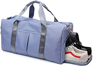 Sports Gym Bag Travel Duffel Bag with Shoes Compartment and Dry Wet Pocket for Women Men, Medium, Blue