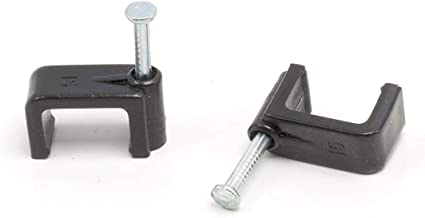 THE CIMPLE CO - Dual, Twin, or Siamese Coaxial Cable Clips, Cat6, Electrical Wire Cable Clip, 1/2 in Nail Clip and Fastener, Black (100 Pieces per Bag)