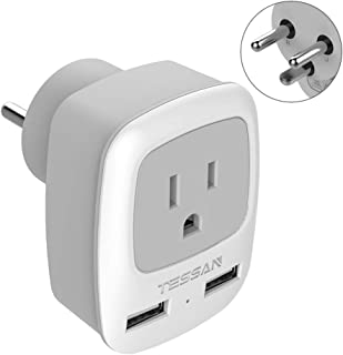 Denmark Power Adapter Plug, TESSAN US to Denmark Travel Outlet Adaptor, Type K Grounded Adapter with 2 USB Ports & 1 American Socket