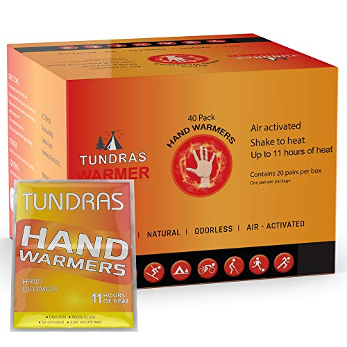 Tundras Hot Hand Warmers 11 Hours Long Lasting  40 Count  Natural Odorless Safe Single Use Air Activated Heat Packs for Hands Toes and Body  Up to 11 Hours of Heat  TSA Approved
