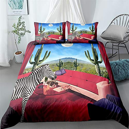 QXbecky Watercolor Painting Rock Wolf Zebra Animal Bedding Soft Microfiber Quilt Cover Pillowcase 3 Piece Set Hidden Zipper