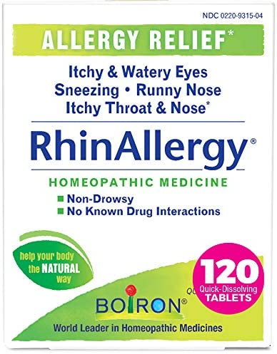 Boiron Rhinallergy Allergy Relief Homeopathic Medicine for Sneezing Runny Nose Itchy Throat product image