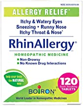 Boiron Rhinallergy Allergy Relief, Homeopathic Medicine for Sneezing, Runny Nose, Itchy Throat and Nose, Non-Drowsy, 120 Tablets, 120 Count