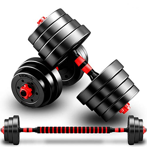 Barbell Weight Set 50kg Free Weight haltere Dumbbells Set with Connecting Rod,3 in 1sport Dumbbell,for Home Workout,Anti Rolling Fitness Training Equipment,110LBS(55LBS*2pcs)