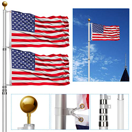 20FT Telescoping Flag Poles Kit,Heavy Duty 16 Gauge Aluminum Telescopic Flagpole Kit with 3'x5' USA Flag & Golden Ball Topper,In ground flagpole for yard house Residential commercial Outdoor garden