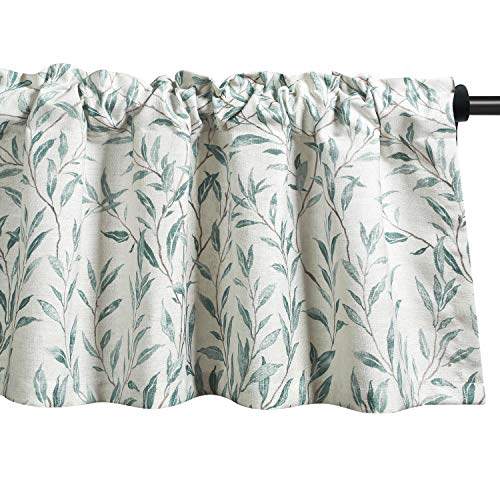 VOGOL Window Valances Leaves Printed Curtains for Kitchen, Top Rod Pocket 52x18 Vintage Drapes Valance for Farmhouse Door Head, Blue, One Panel