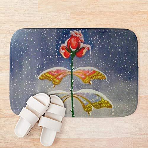Alfombra de baño Felpudo Invierno Vintage abstracto árbol de nieve Dali alfombra real baño microfibra alfombra de baño de dibujos animados Fiesta de navidad regalo de decoración del hogar-60x90cm