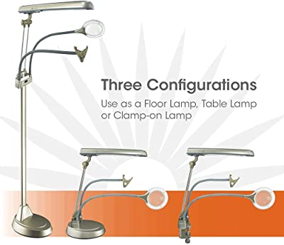 OttLite Ultimate 3-in-1 Craft Lamp and Seam Ripper with LED Magnifier - 24 Watt, Floor Lamp, Table Lamp, Clamp Lamp, Great for Sewing, Efficient Design