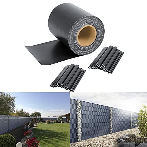 SWANEW PVC Sichtschutzfolie Sichtschutzstreifen 35m x 19cm, Blickdicht Sichtschutz für Doppelstabmatten Zaun, mit 30 Befestigungsclips, für Gartenzaun Balkon, Anthrazit 450g/m²