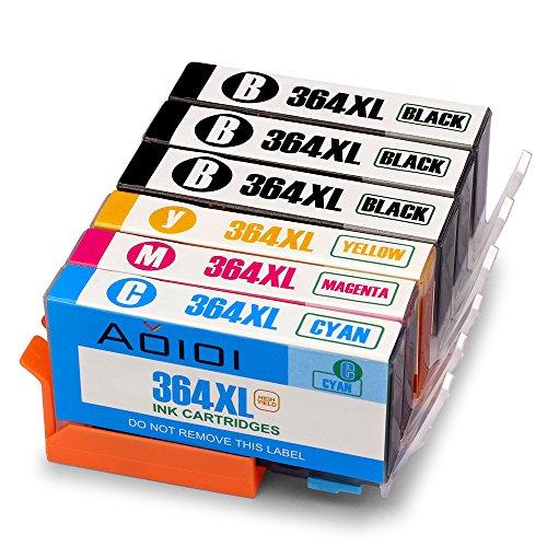 Aoioi Compatibile Cartucce HP 364XL 364 per HP photosmart 5520 5510 6520 7520 7510 6510,Premium C309g B010 B109a B110,HP Deskjet 3520 3070A ,HP Officejet 4620 4622 (3 Nero,1 Ciano,1 Magenta,1 Giallo)