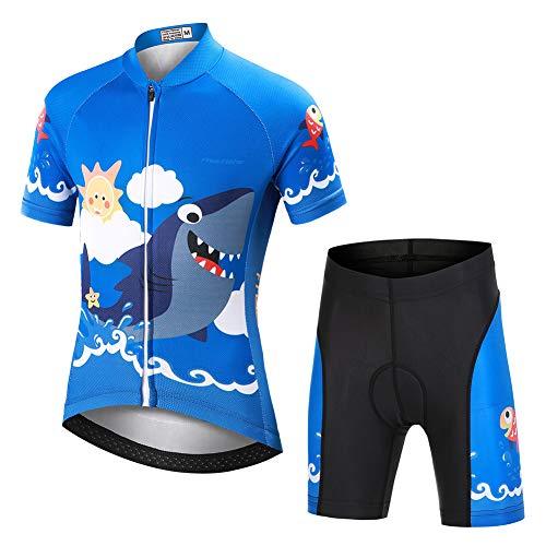 YFPICO Niños Traje de Ciclismo Transpirable para Deportes al Aire Libre Ropa Ajustada Cuerpo Pantalones + Tops Especial de la Almohadilla, Azul tiburón Tops+Pantalones, M (4-6 años)