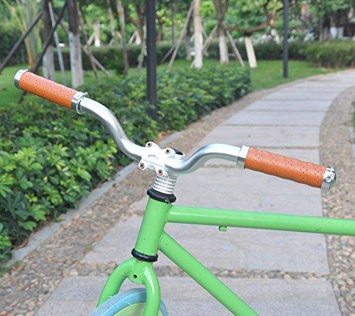 UPANBIKE Fahrrad Griffe Ergonomisches Design Fahrrad Ledergriffe Passend für 22,2 mm Lenkergriffe(EIN Paar,Khaki) - 5