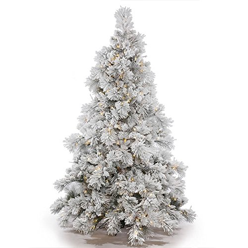Vickerman Flocked Alberta Artificial Christmas Tree with Artificial Pine Cones and 150 Warm White LED Lights, 3.5' x 35'