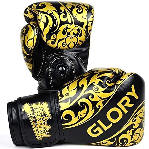 Fairtex Glory - Guantes de Boxeo (Piel auténtica, edición Limitada), Color Negro...