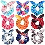 Bow Scrunchies for Hair, Funtopia 9 Pcs Cute Rabbit Bunny Ear Scrunchies, Fashion Colorful Tye Dye Velvet Scrunchy Hair Ties Bowknot Ponytail Holders for Women Girls Kids