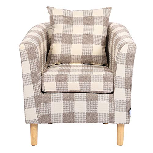 Warmiehomy Modern Occasional Chair Tartan Linen Fabric Tub Chair Armchair for Bedroom Living Room Office Lounge Reception