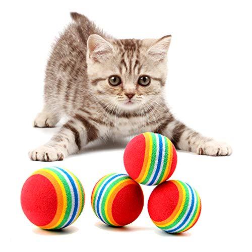 nuluxi Haustier Katzen Spielzeug Bälle Bunte Schaumstoffbälle Katze Regenbogen Spielbälle Kätzchen Aktivität Spielzeug Bälle Geeignet für Haustiere, zum Apportieren, Interaktives Spielzeug(20 Stück)