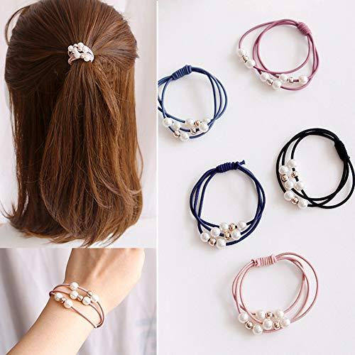 10 Pcs Korean Hair Accessories Girls Hair Elastic Ties, Multi Layer Hair Ring with Pearls Hair Rope Hairband