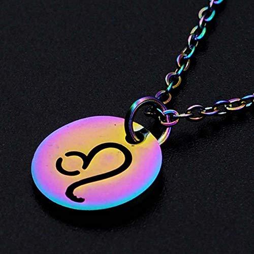 DDDDMMMY Sternzeichen Halsketten,Leo 12 Sternzeichen Kette Anhänger, Edelstahl 12 Sternbild Halskette Weiblich Farbe Jungfrau Widder Löwe Halskette Verstellbare Halskette