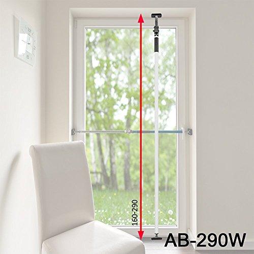 ALLEGRA Sicherungsstange für die Fenstersicherung und Türsicherung, Einbruchschutz für Fenster und Türen (1,6m - 2,9m, Weiß)