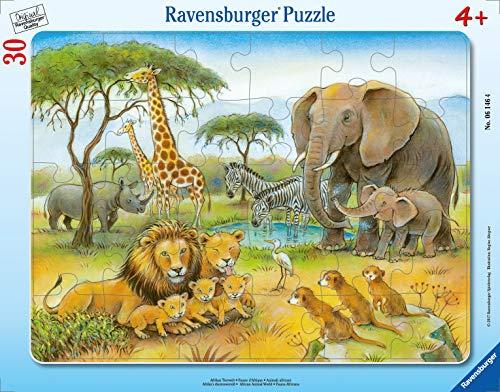 Ravensburger Kinderpuzzle - 06146 Afrikas Tierwelt - Rahmenpuzzle für Kinder ab 4 Jahren, mit 30 Teilen