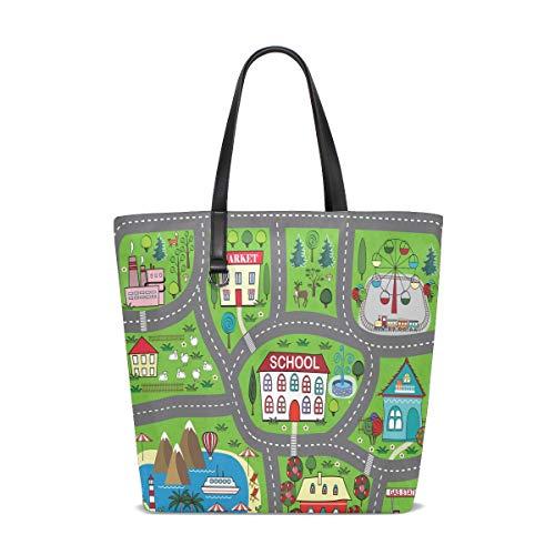 Damen Handtaschen Cartoon Stadtplan Polyester Stoff Umhängetasche