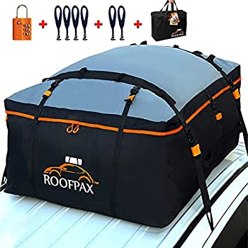 RoofPax Car Roof Bag & Rooftop Cargo Carrier – 15 Cubic Feet Heavy Duty Bag 100% Waterproof Excellent Military Quality Rooftop Car Bag - Fits All Cars with/Without Rack - 6 Door Hooks Included