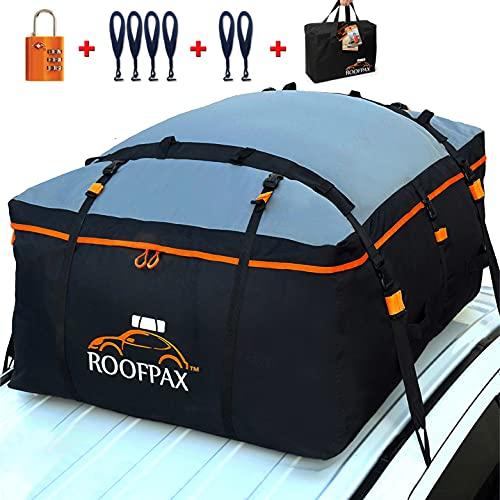 RoofPax Car Roof Bag & Rooftop Cargo Carrier – 15 Cubic Feet Heavy Duty Bag, 100% Waterproof Excellent Military Quality Rooftop Car Bag - Fits All Cars with/Without Rack - 6 Door Hooks Included