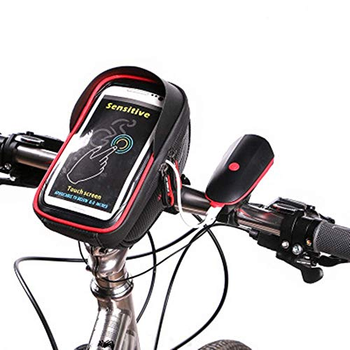 GHJU Bike Saddle Bag Bike Seat Bag- Bike Front Frame Bag with Cell Phone Holder Bike Accessories Tool (Color : Black, Size : One Size),Size:One Size,Colour:Black qingqiao