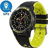 【2020最新版】GPS スマートウォッチ 心拍計 活動量計 着信通知/メール/Line通知の多機能スポーツスマートウォッチ iphone&Android対応 (Yellow) …