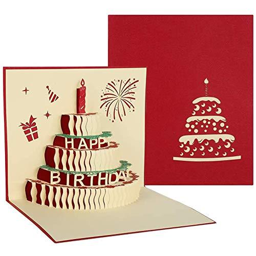 Tarjeta de Cumpleaños Pop Up, Tarjeta de Regalo de Cumpleaños 3D Postal de Papel con Fuegos Artificiales de Velas para Niños Amigos Amante de San Valentín Feliz Cumpleaños Aniversario, Sobre Incluido