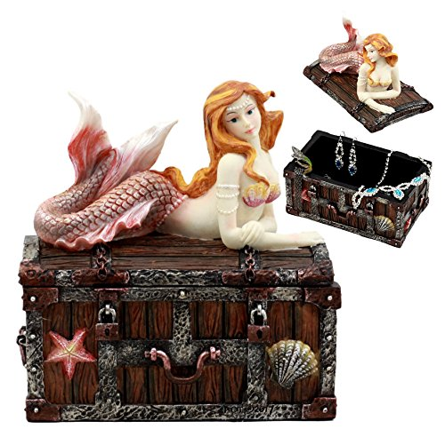 "Ebros Pink Tailed Mermaid Nerida Resting On Sunken Treasure Chest Jewelry Box Figurine 5.25""L Decorative Trinket Keepsake Of Under The Sea Ocean Marine Life Sculpture Decor (Vibrant Colors)"