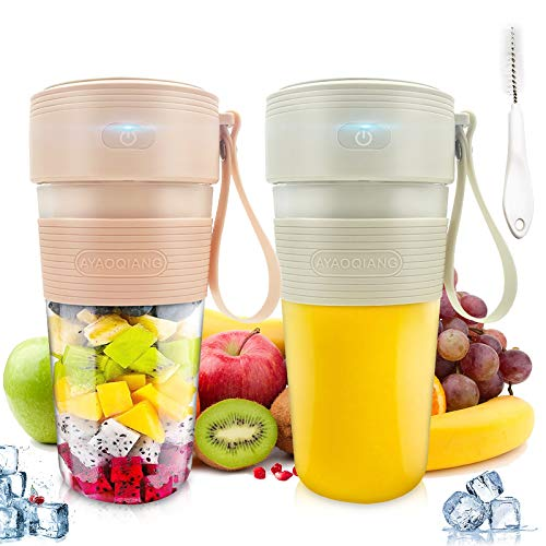 2pcs Portable Blender,Personal Size Blender Smoothies and Shakes USB Rechargeable Juicer Cup with 2 Powerful Blades,Handheld Mini Blender for Smoothie,Fruit Juice, Milk Shakes